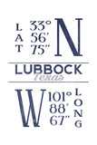 Lubbock, Texas - Latitude and Longitude (Blue) Prints by  Lantern Press