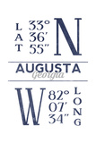 Augusta, Georgia - Latitude and Longitude (Blue) Prints by  Lantern Press