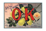 OK Brand - Azusa, California - Citrus Crate Label Prints by  Lantern Press