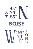 Boise, Idaho - Latitude and Longitude (Blue) Prints by  Lantern Press