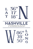 Nashville, Tennessee - Latitude and Longitude (Blue) Art by  Lantern Press