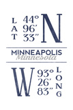 Minneapolis, Minnesota - Latitude and Longitude (Blue) Poster by  Lantern Press