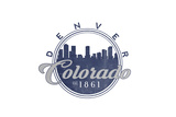 Denver, Colorado - Skyline Seal (Blue) Print by  Lantern Press