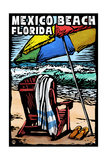 Mexico Beach, Florida - Beach Chair - Scratchboard Prints by  Lantern Press