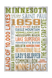 Minnesota - Barnwood Typography Prints by  Lantern Press