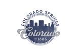 Colorado Springs, Colorado - Skyline Seal (Blue) Prints by  Lantern Press