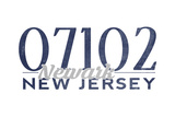 Newark, New Jersey - 07102 Zip Code (Blue) Art by  Lantern Press