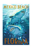 Mexico Beach, Florida - Stylized Tiger Sharks Posters by  Lantern Press