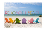 Rehoboth Beach, Delaware - Colorful Beach Chairs Prints by  Lantern Press