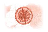 Compass - Coral - Coastal Icon Poster by  Lantern Press