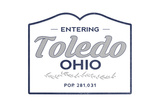 Toledo, Ohio - Now Entering (Blue) Prints by  Lantern Press