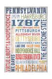 Pennsylvania - Barnwood Typography Art by  Lantern Press