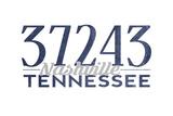 Nashville, Tennessee - 37243 Zip Code (Blue) Poster by  Lantern Press