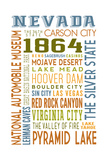 Nevada - Typography Poster by  Lantern Press