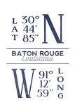 Baton Rouge, Louisiana - Latitude and Longitude (Blue) Prints by  Lantern Press