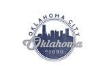 Oklahoma City, Oklahoma - Skyline Seal (Blue) Posters by  Lantern Press