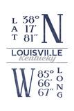 Louisville, Kentucky - Latitude and Longitude (Blue) Art by  Lantern Press