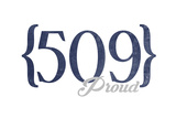 Spokane, Washington - 509 Area Code (Blue) Prints by  Lantern Press