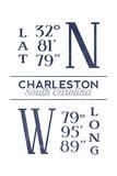 Charleston, South Carolina - Latitude and Longitude (Blue) Kunstdrucke von  Lantern Press