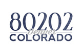 Denver, Colorado - 80202 Zip Code (Blue) Poster by  Lantern Press