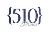 San Jose, California - 510 Area Code (Blue) Prints by  Lantern Press