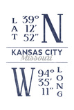 Kansas City, Missouri - Latitude and Longitude (Blue) Posters by  Lantern Press
