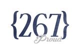Philadelphia, Pennsylvania - 267 Area Code (Blue) Art by  Lantern Press