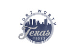 Fort Worth, Texas - Skyline Seal (Blue) Posters by  Lantern Press