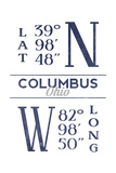 Columbus, Ohio - Latitude and Longitude (Blue) Posters by  Lantern Press