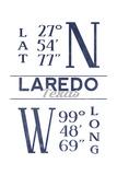 Laredo, Texas - Latitude and Longitude (Blue) Posters by  Lantern Press