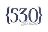 Berkeley, California - 530 Area Code (Blue) Print by  Lantern Press