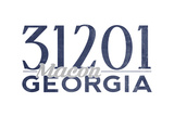 Macon, Georgia - 31201 Zip Code (Blue) Print by  Lantern Press