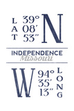 Independence, Missouri - Latitude and Longitude (Blue) Poster by  Lantern Press