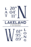 Lakeland, Florida - Latitude and Longitude (Blue) Prints by  Lantern Press