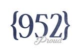 Minneapolis, Minnesota - 952 Area Code (Blue) Print by  Lantern Press