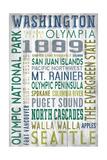 Washington - Barnwood Typography Prints by  Lantern Press