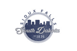 Sioux Falls, South Dakota - Skyline Seal (Blue) Prints by  Lantern Press