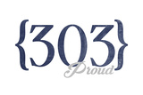 Boulder, Colorado - 303 Area Code (Blue) Art by  Lantern Press