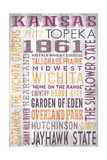 Kansas - Barnwood Typography Art by  Lantern Press