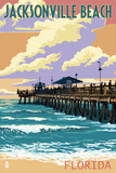 Jacksonville Beach, Florida - Pier and Sunset Posters by  Lantern Press