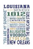 Louisiana - Typography Posters by  Lantern Press