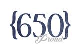 San Jose, California - 650 Area Code (Blue) Print by  Lantern Press