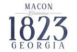 Macon, Georgia - Established Date (Blue) Prints by  Lantern Press