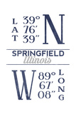 Springfield, Illinois - Latitude and Longitude (Blue) Art by  Lantern Press