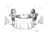 Cavemen on a date with a little fire in the middle of the table. - New Yorker Cartoon Premium Giclee Print by Avi Steinberg