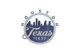 Houston, Texas - Skyline Seal (Blue) Prints by  Lantern Press