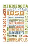Minnesota - Typography Art by  Lantern Press