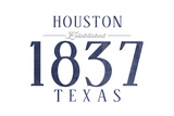 Houston, Texas - Established Date (Blue) Poster by  Lantern Press