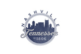 Nashville, Tennessee - Skyline Seal (Blue) Print by  Lantern Press