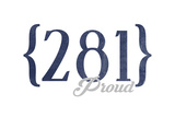 Houston, Texas - 281 Area Code (Blue) Art by  Lantern Press